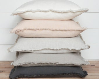 Fringe Pillow Cover • 20 x 20 Pillow Cover • 26 x 26 • Neutral Pillow • Layering Pillow •  Decorative Pillow • Throw Pillow