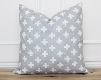 Swiss Cross Pillow Cover • Gray and White Cross Pillow •  Decorative Pillow • Cushion Cover • Farmhouse Pillows • Accent Pillow   Harlow