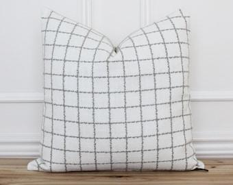 Gray Checkered Pillow Cover • Windowpane Pillow Cover •  Gray Plaid Cushion Cover • Farmhouse Pillows • Custom Made Pillow Covers   Charlie