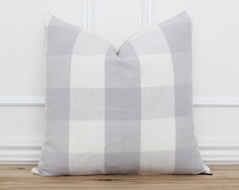 Gray and White Buffalo Check Pillow Cover • Checkered Throw Pillow • Decorative Cushion Cover • Grey and White Plaid Pillow Covers   Ivy