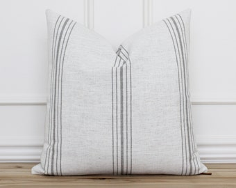Decorative Pillow Cover with Gray Stripes • Gray Grain Stripe Pillow • Designer Cushion Cover • Neutral Pillow Covers • Lumbar   Marlow