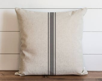 Pillow // Pillow Cover // Farmhouse Grain Stripe Pillow Cover // STRIPE 20 x 20 PILLOW COVER // Throw Pillow // Vintage Pillow // Home Decor
