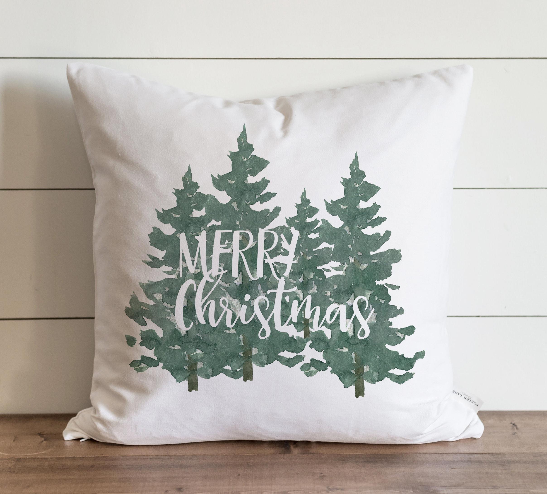 Christmas Pillow Cover // Merry Christmas Trees // Farmhouse | Etsy
