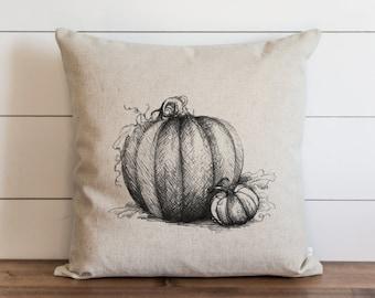 Pumpkin Sketch 20 x 20 Pillow Cover // Fall // Autumn // Thanksgiving // Throw Pillow // Gift for Her // Accent Pillow