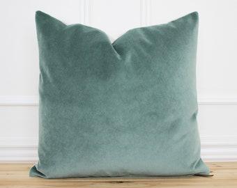Green Velvet Pillow Cover • Forest Green Throw Pillow • 20x20 Pillow Cover •  Velour Pillow • Designer Pillow • Decorative Pillow || Forrest