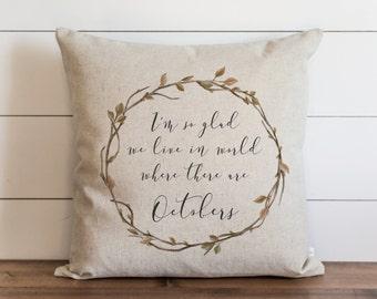 October 20 x 20 Pillow Cover // Fall // Autumn // Thanksgiving // Throw Pillow // Gift for Her // Accent Pillow