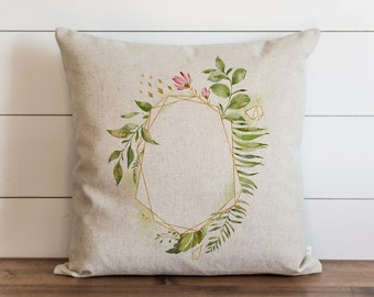 Floral Frame 20 x 20 Pillow Cover // Everyday // // Flower // Floral // Herbs // Gift // Accent Pillow