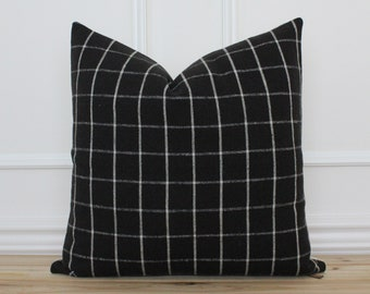 Black Windowpane Pillow Cover • Black checkered Pillow Cover • Farmhouse Pillows • Decorative Throw Pillow • Accent Pillow • Lumbar   Lennon