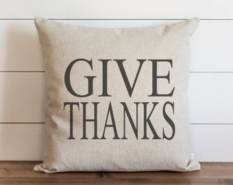 Give Thanks_CAPS 20 x 20 Pillow Cover // Fall // Autumn // Thanksgiving // Throw Pillow // Gift  // Accent Pillow