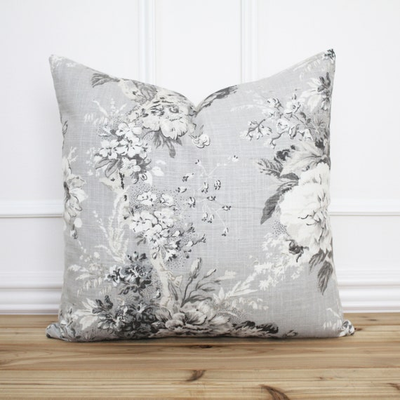 Neutral Floral Pillow Cover Throw Pillows 20x20 Designer Pillow Cover CASCADE FLORAL STONE Gray and White Pillow Cover