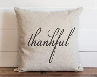Thankful 20 x 20 Pillow Cover // Fall // Autumn // Thanksgiving // Throw Pillow // Gift  // Accent Pillow