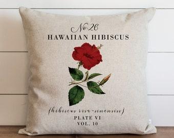 Hawaiian Hibiscus Pillow Cover   18 x 18   20 x 20   Botanical Pillow Cover   Floral   Spring Decor   Summer Throw Pillow   Garden