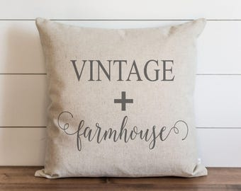 Vintage + Farmhouse 20 x 20 Pillow Cover // Housewarming Gift // Throw Pillow // Cushion Cover // Gift for them // Accent Pillow