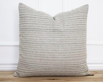 Tan and Gray Stripe Pillow Cover • 20 x 20 Pillow Cover • Farmhouse Pillow • Designer Pillow • Decorative Pillow • Grey Striped || Kade