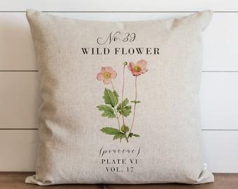 Wild Flower Pillow Cover | 18 x 18 | 20 x 20 | Botanical Pillow Cover | Floral | Herbs | Spring Home Decor | Summer Throw Pillow | Garden