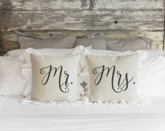 Mr. and Mrs.  20 x 20 Pillow Cover SET// Everyday // Anniversary // Wedding // Throw Pillow // Gift