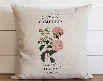 Camellia Pillow Cover   18 x 18   20 x 20   Botanical Pillow Cover   Floral   Spring Decor   Summer Throw Pillow   Garden