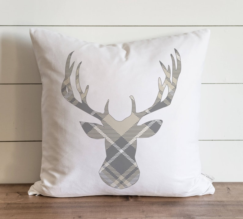 Gray /& Cream Plaid Deer 20 x 20 Pillow Cover  Christmas  Holiday  Winter  Throw Pillow  Gift  Accent Pillow