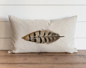 Watercolor Feather 16 x 26 Pillow Cover // Fall // Autumn // Thanksgiving // Throw Pillow // Gift for Her // Accent Pillow