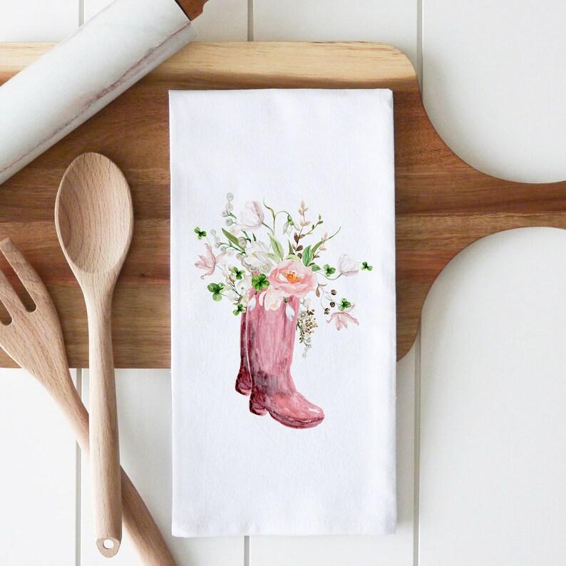 Spring Boots Tea Towel Kitchen Towel Flour Sack Towel Wedding Favor Kitchen Decor Wedding Gift Dish Towel Housewarming Gift