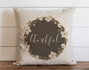 Fall Wreath_ Thankful 20 x 20 Pillow Cover // Fall // Autumn // Thanksgiving // Throw Pillow // Gift for Her // Accent Pillow