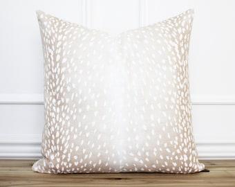Antelope Pillow Cover Blush • Animal Print Pillow Cover • 20 x 20 Pillow • Designer Pillow • Decorative Throw Pillow | Evelyn Blush