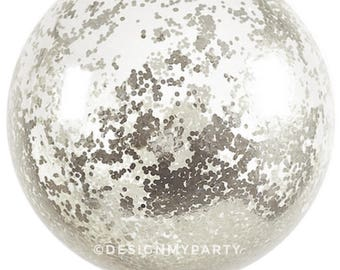Silver 1cm Large Jumbo Confetti Balloons (3 Sizes Available) DMP082