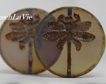 Czech Dragonfly Coin Bead 23mm - Blue/Beige Translucent with Picasso finish (520459C)