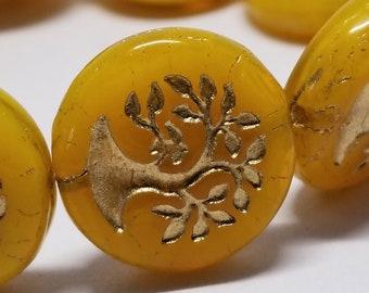 2 pcs Czech Coin Bead Bonsai 19mm Shine Yellow w/Bronze Finish 4274