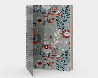 Grey Whimsy Floral Notebook Sketchbook Lined or Plain