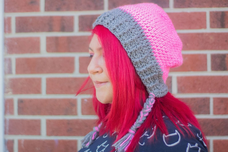 66932f70127 Crochet Hot-Pink-and-Grey Earflap Slouchy Winter Hat Slouchy