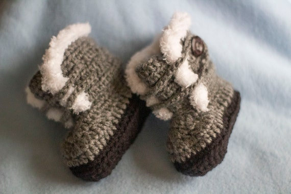Fuzzy Trimmed Baby Booties Girl or Boy