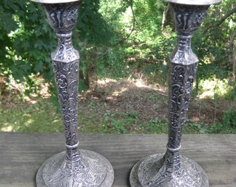 Antique Repousse Silver plated Candlestick Holders 1900s