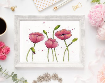 Watercolor Print Painting of Pink Poppies for your Desk, Shelf or Wall