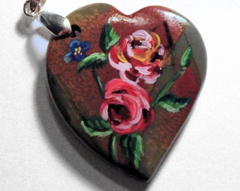 Roses on a Heart Pendant