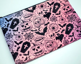 Halloween Pattern Pencil Cosmetic Makeup Zipper Bag Witch Pastel Goth Creepy Cute