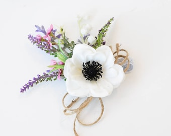 Silk flower corsage etsy rustic corsage boho wedding rustic wedding lavender corsages real touch flowers off white anemone corsage silk corsage mother corsage mightylinksfo