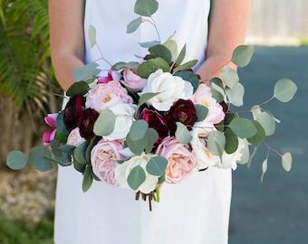 Silk wedding flowers etsy boho bouquet rustic wedding peony bouquet silk peony bouquet silk bouquet silk wedding flowers real touch bouquet burgundy bouquet mightylinksfo