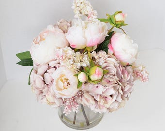 Silk flower arrangement etsy pink peonies and hydrangeas silk flower centerpiece large glass faux home decor artificial peony wedding decor silk flower arrangement mightylinksfo