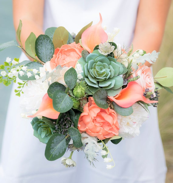Succulents & Coral Peach Silk Real Touch Wedding Bouquet