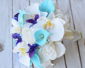 Silk Wedding Bouquet with Off White Roses, Blue Purple Orchids and Aruba Turquoise Callas - Natural Touch Silk Flower Bouquet