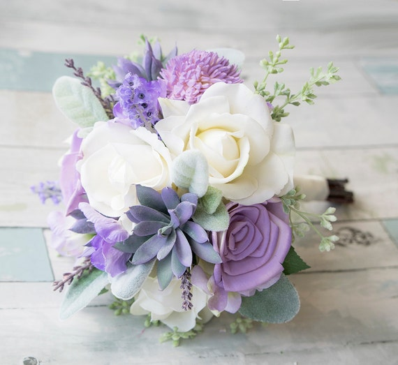 Eggplant Eucalyptus Artificial Flower Bouquet Custom Silk Flower Bouquet Lavender Bridal Bouquet Bridesmaid Bouquet Faux Bouquet