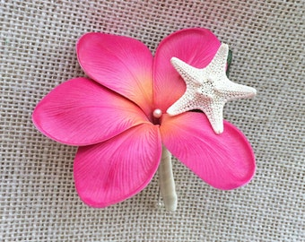 Plumeria and Starfish Tropical Wedding Boutonniere - Wedding Boutonnieres Your Choice of Color