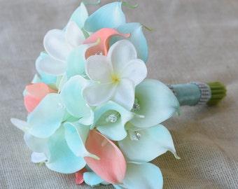 Mint Silk Flower Wedding Bouquet - Robbin's Egg and Coral Peach Calla Lilies Off White Plumeria Natural Touch Crystals Silk Bridal Bouquet