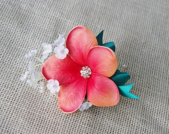 Coral Plumeria Tropical Wedding Brooch Corsage - Wedding Boutonnieres Your Choice of Ribbon