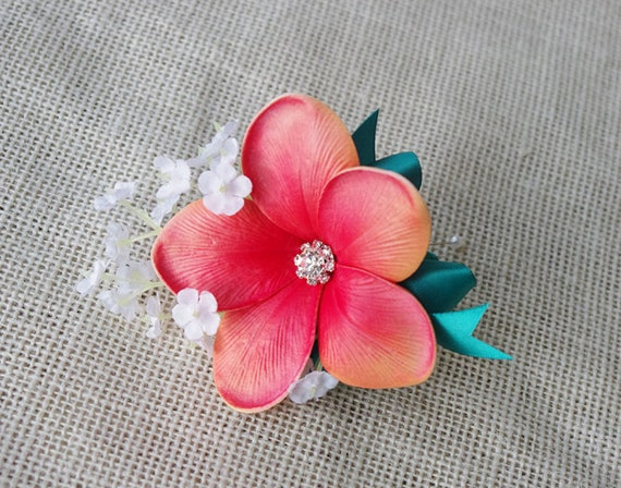 Plumeria Corsage, Coral Corsage, Tropical Corsage, Beach Wedding, Tropical Wedding, Mother Corsage, Prom Corsage, Silk Corsage, Fake Corsage