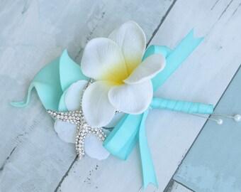Aqua Turquoise Plumeria and Calla Lily Tropical Wedding Corsage - Brooch Starfish Wedding Corsage - Beach Wedding Prom Corsage