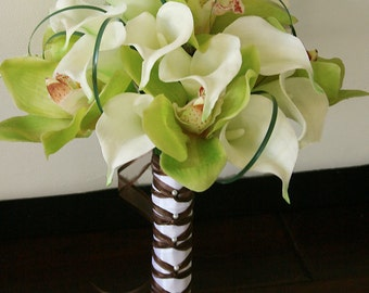 Silk Wedding Bouquet of Orchids and Callas- Off White Natural Touch White Calla Lilies and Green Orchids Silk Bridal Bouquet