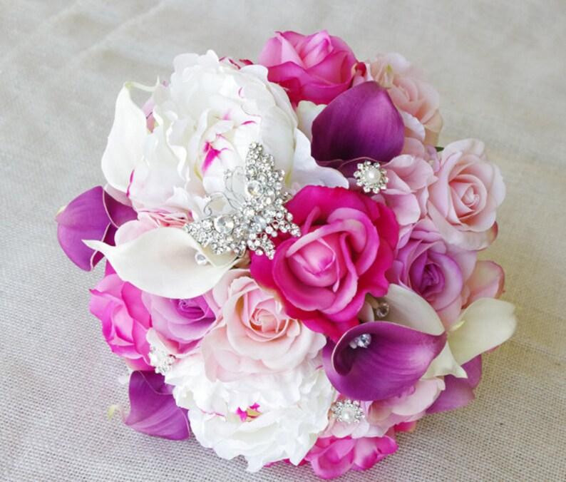 Bouquet Sposa Fucsia.Matrimonio Viola Mix Di Fucsia Rosa E Lilla Peonie Tocco Naturale Callas E Bouquet Sposa Di Rose Fiore Di Seta