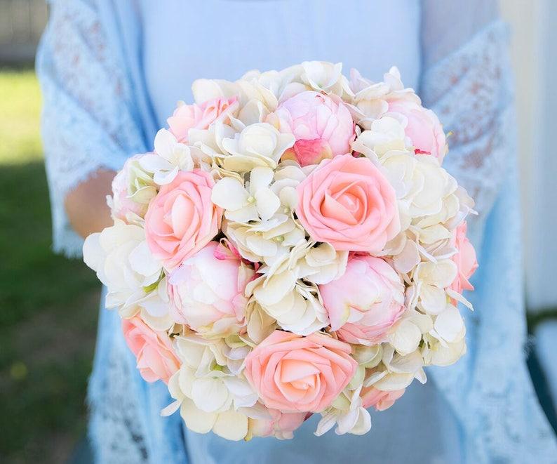 Bouquet Sposa Peonie E Ortensie.Peonie Rosa Rose E Ortensie Bianco Fiore Di Seta Bouquet Sposa Tocco Seta Sposa Naturale Quasi Fresco